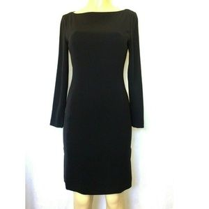 Emanuel Ungaro Sheath Dress Black Boat Neck 4 S